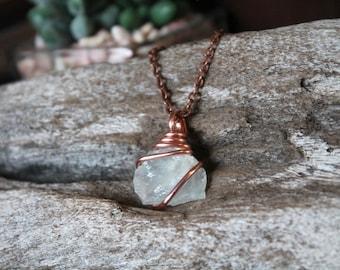 Aquamarine Necklace - Natural Aquamarine Jewelry - Stone Necklace - Raw Stone Jewelry - Gypsy Necklace - Hippie Boho Jewelry Boho Chic