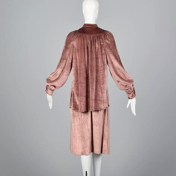 70s Tunic Velvet la Loose Winter Skirt Separates Renta Comfy de Autumn Length X Oscar Small Outfit Separates Vintage Knee 1970s YxpOPqn