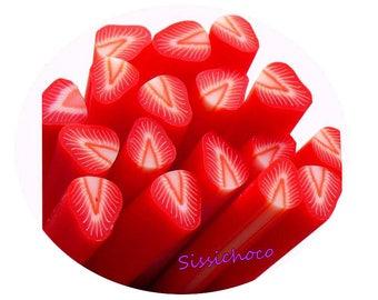 x 3 Strawberry polymer clay cane