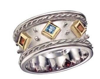 Des mères bague de pierres précieuses, en argent et bague en or, pierres gemmes topaze band, grenat, citrine et bleu - rêver en couleurs - R1141