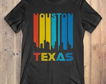 Retro 1970's Style Houston Texas Skyline Vintage T-Shirt