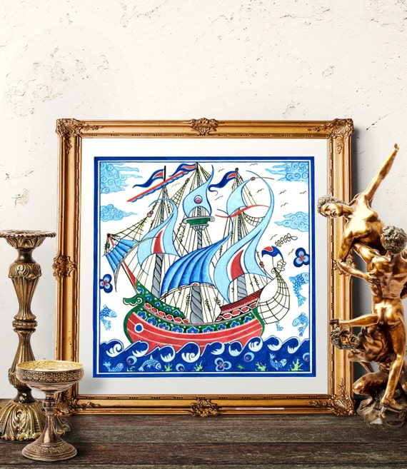 Turkish Home Decor: Turkish Ottoman Galleon Home Decor Ottoman Ship Iznik Tile