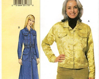 Sz 32/34/36 Bust - Vogue Coat Pattern 7610 by SANDRA BETZINA - Misses' Loose-Fitting, Unlined Jean Jacket or Above Ankle Coat - Today's Fit