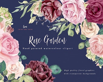 Flower Clipart - Rose Garden - Watercolor png floral graphics