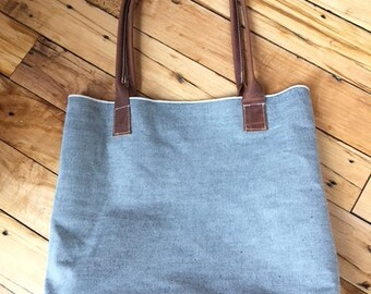 White Oak Denim Selvage style -1960 Leather bottom Handbag