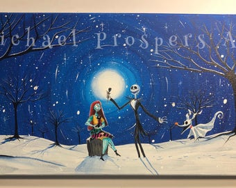 Tribute to A Nightmare before Christmas We were meant to be-   -  12 x 24, acrylic on canvas,  ORIGINAL by Michael H. Prosper