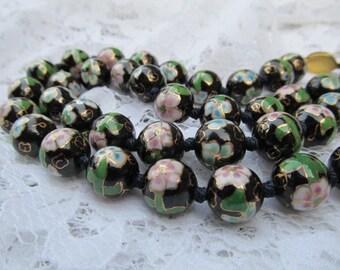 SALE-Vintage Black Cloisonne Bead Necklace-Multi colored Evening Office Attire
