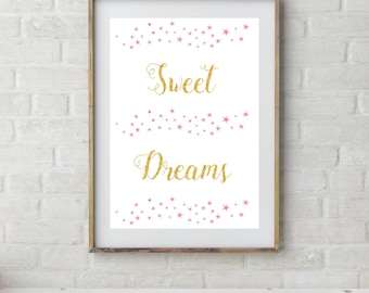 Sweet Dreams Print, Instant Download, Pink Stars, Dream Nursery Print, Gold Nursery, Printable Nursery Art, Dream Stars, Star Nursery Set