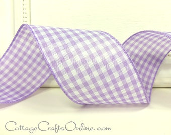 """Wired Ribbon, 2 1/2"""" wide, Lavender Purple Gingham Check - THREE YARDS - Offray  Lilac Plaid Spring, Easter, Summer Wired Edged Ribbon"""
