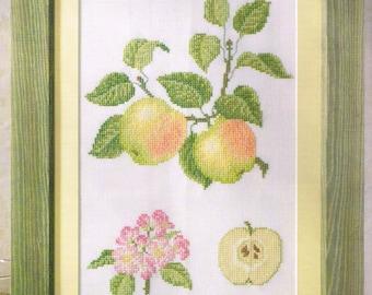 Green Apple Botanical Print Cross Stitch Pattern - Apple Cross Stitch - Fruit Cross Stitch - Kitchen Decor Pattern