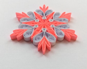 Quilled Snowflakes Paper Quilling Art Christmas Tree Decor Winter Hanging Ornaments Gifts Toppers Mandala Office Corporate Neon Pink White