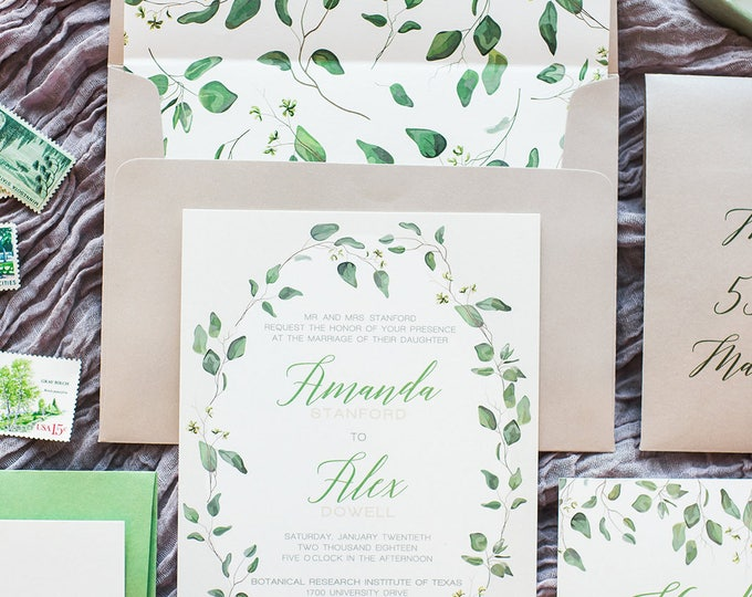 Neutral Beige, Ivory Greenery Branches Laurel Wreath Leaves Wedding Invitation with RSVP, Liner, Calligraphy Addressing - Other Colors Avail