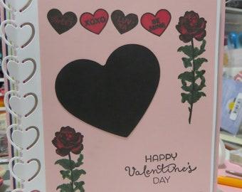 Valentine's Day card, handmade love card, roses card