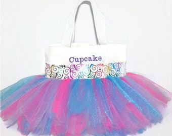 Tutu Bag, Dance Bag, Multi Colored Whimsical Ribbon, Monogram Name Embroidered on the Bag. Personalized Girl, Ballet Bag, Dance Class Bag