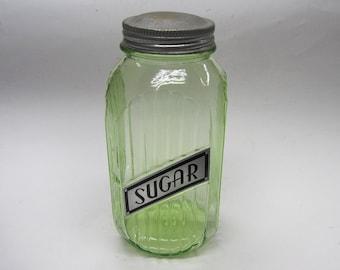 Hocking Green Vaseline Ribbed SUGAR Canister 40 oz Depression Glass 1930's