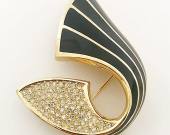 Vintage 1970s gold toned Christian Dior enameled rhinestone brooche, costume jewelry