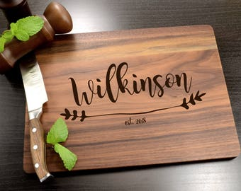 Personalized Cutting Board - Wedding Gift - Custom Cutting Board - Engraved Engagement Gift - Wooden Cutting Board - Wood Cheese Board