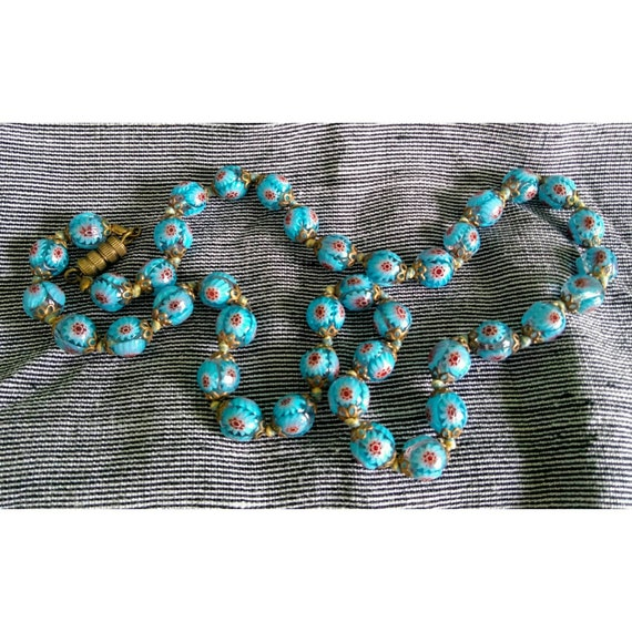 Lovely vintage aquamarine blue Italian Venetian milifiori art glass Murano bead necklace 1920s Deco