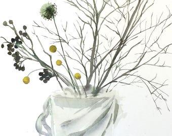 Winter Arrangement Floral - original watercolor painting