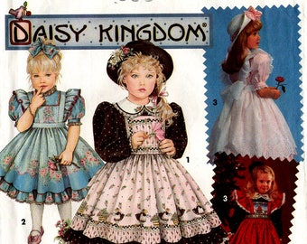 Daisy Kingdom GIRLS DRESS & PINAFORE Pattern Simplicity #7699 Size 5-6x Ruffles Peter Pan Collar Party Dress Sunday Best 1992 Sewing