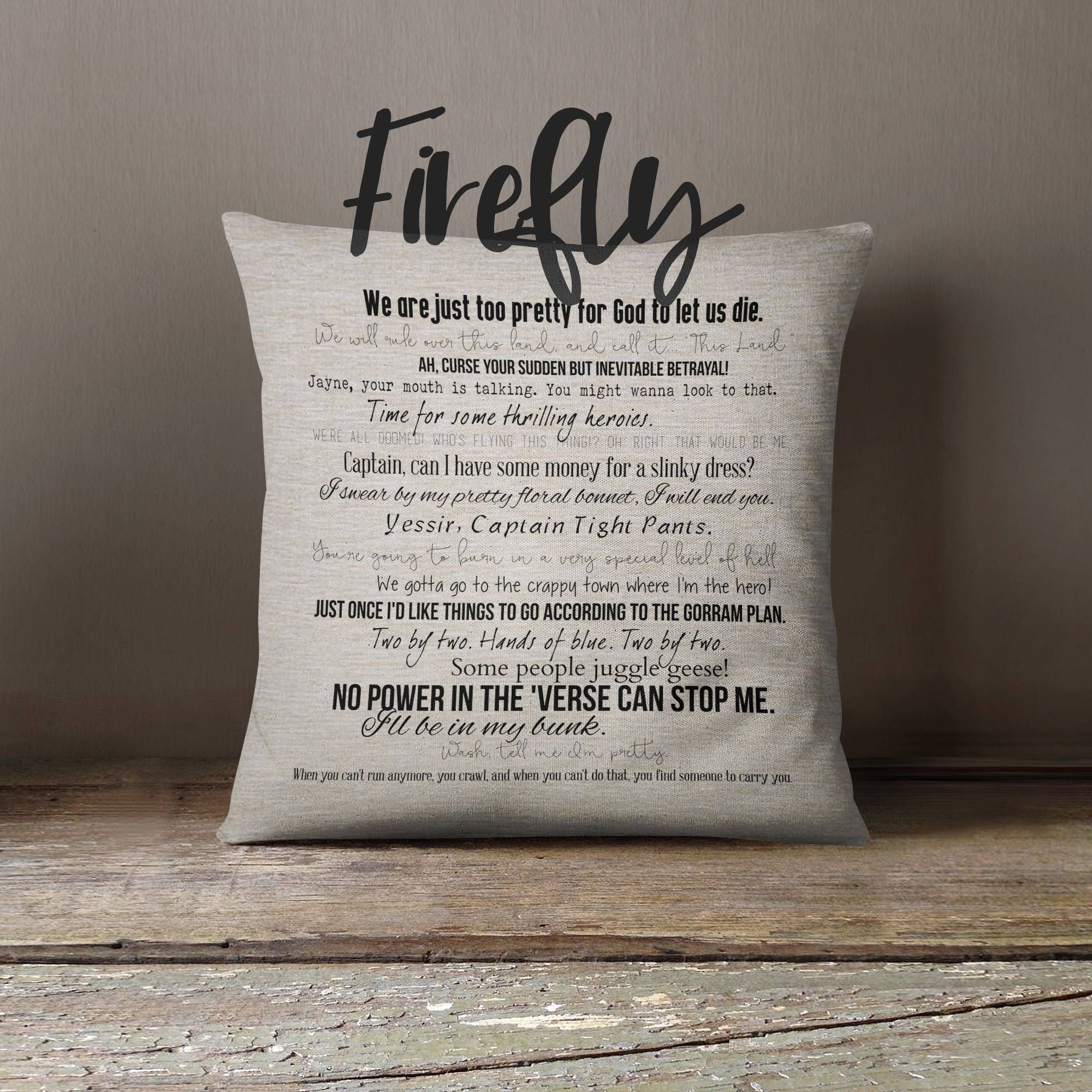 Serenity Movie Quotes: Firefly TV Quote Pillow Cover 18x18inch Movie Quotes