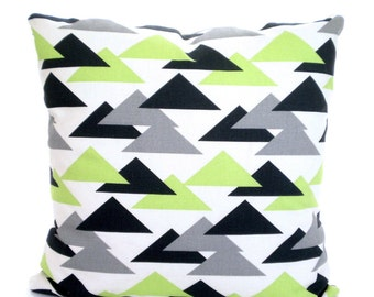 Green Charcoal Gray Pillow Covers, Decorative Throw Pillows, Cushions, Kiwi Green Grey Charcoal White Geometric, Jacklyn, One ALL SIZES