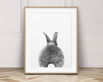 Rabbit Print, Woodlands Nursery Decor, Rabbit Tail Photo, Bunny Print, Nursery Wall Art, Black & White Animal Print, Kids Room Printable Art