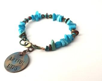 Boho Bracelet- Turquoise  Bracelet- Boho Charm Bracelet-Rustic Bracelet-Natural Stone Bracelet-Beaded Blue Bracelet- Earthy By Design-Earthy