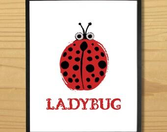 Ladybug Wall Art, Ladybird Print, Lady Bug Art, Lady Bird Art, Bug Print, Insect Art, Digital Download