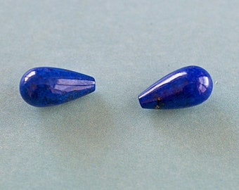 Lapis Lazuli Teardrop Beads, Semiprecious Stone Drop Bead, Half Drilled, 15mm, 2 Pieces