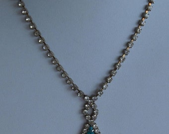 "On sale Teal Blue, Clear Rhinestone Necklace, Silver tone, Vintage, 16"" (P15)"