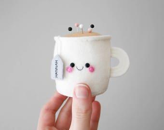 Custom Name Teacup Pincushion, Personalised Felt Pincushion, Kawaii Craft Supply, Sewing Gift