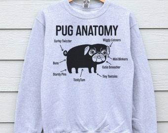 Pug, Pug Sweater, Pug Sweatshirt, Pugs, Pug Jumper, Pugs, Pug Gifts, Pug Anatomy, Sweater, Dog Print Sweater, Pug Life Sweatshirt, Pug Life