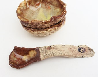 Small Decorative Spoon, Rustic Primitive Twisted, Hobbitware, Brown Cream