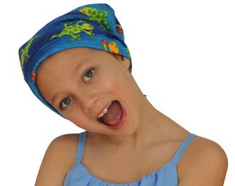 Jaye Children's Flannel Head Cover, Girl's Cancer Headwear, Chemo Scarf, Alopecia Hat, Head Wrap, Cancer Gift for Hair Loss - Blue Geichos