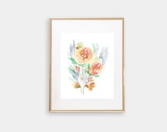 Peach Rose Watercolor Print
