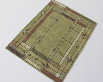 Miniature Rug Rectangular Arts and Crafts Prairie Style Khaki in Several Sizes