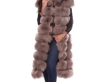 Vest of polar fox fur, fox fur jacket, vest of fox, fur vest, fox fur vest, real fox fur vest