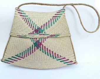 Vintage Woven Straw Hobo Beach Tote Bag