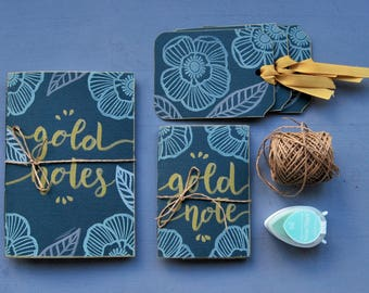 "Handmade stationery set, handmade notebook, mini journal, handprinted bookmark, writers gift, gift for her, ""Gold"""
