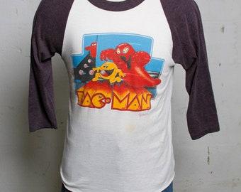Vintage Rare 80's Original Pac-Man 3/4 Sleeve T Shirt Midway Grand Illusion M