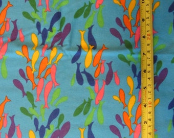 Rainbow Fish F600 Desinged by Jannet Orfini for Northcott Lyndhurst Studio, designer fabric, blue, cotton flannel fabric, quilting