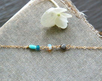Minimalist dainty white opal aqua beaded gold filled fine necklace,simple boho layering birthstone necklace. Tiedupmemories