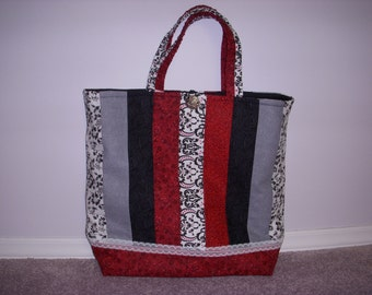 Red, Black & White Quilted Laptop Tote, Carry all Bag, Purse