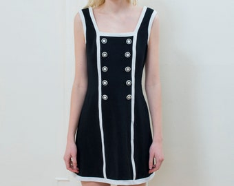 vintage black body con dress small 4 | black white mini dress | elastic a line tuxedo dress | graphic minidress | contrast | 80s | 1980s