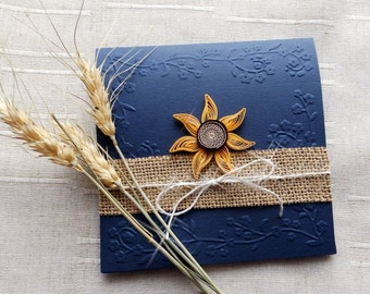Handmade sunflower wedding invite/Country invitation/Blue navy invite/Burlap wedding invite/Sunflower wedding invitation/Rustic invitation