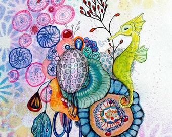 Sea Horse and Anemones, Giclee Fine Art Print, Original Art, Ocean, Sea, Beach Decor, Nursery, Kids room, Little Mermaid
