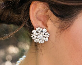 Bridal earrings, pearl earrings, Rhinestone Earrings, swarovski crystal, Statement Earrings, stud Earrings, wedding earrings, COLLEEN
