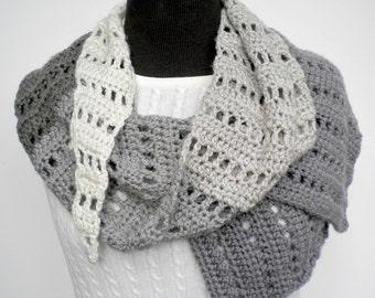 Scarf Neutral Stripes Market Scarf Hand Crocheted