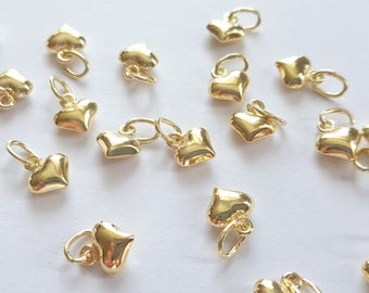 Pack of 2, 22k Yellow Vermeil Gold Plated 925 Sterling Silver 6mm x 5mm x 3mm puffed heart charm [our ref: 13-0203]